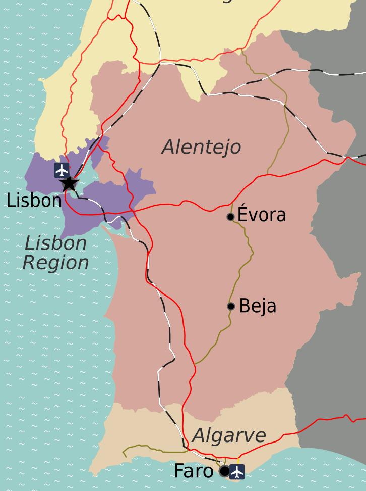 alentejo provincie kaart